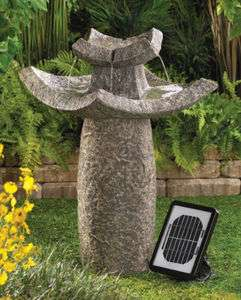 SOLAR japanese Asian Temple Pagoda ZEN bird bath Outdoor Garden patio