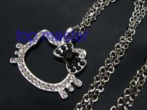 Beautiful hello kitty cat crystal necklace black H35