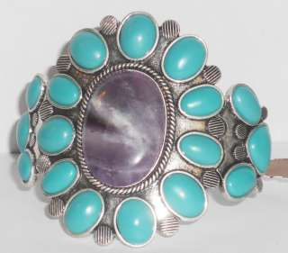 LUCKY BRAND SILVER TONE CUFF STYLE BRACELET WITH AMETHYST AND
