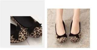 BN Casual Ladies Ballet Flats Leopard Print Brown Black