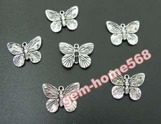 60 Tibetan Silver Butterfly Charms B627
