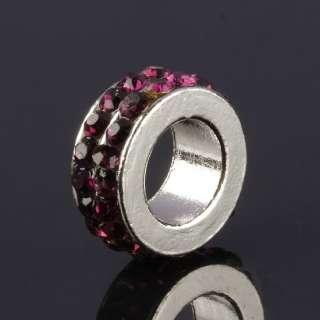 Double Row Crystal Charm European Bead Spacer Loose