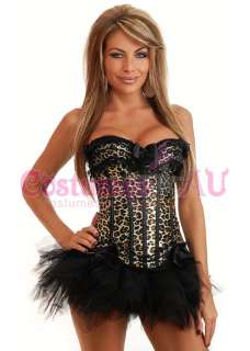 Moulin Rouge Corset Fancy Dress Costume Showgirl Bustier Skirt