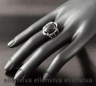Goth Gothic Mens Black Stone Ring Size8 New #rg168bk8