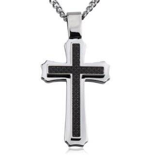 Black Carbon Fiber Stainless Steel Mens Cross on 24 Inch Curb Chain