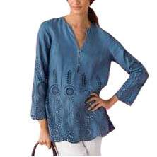 Sutton Studio Womens Eyelet Linen Tunic Top Shirt