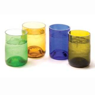 Oenophilia Recycled Glass Wine Bottle Tumblers, Set of 4, Assorted