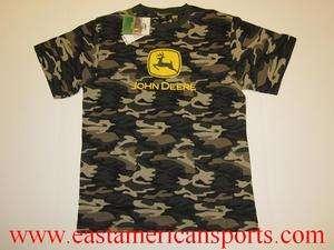 John Deere Camouflage Camo Shirt Boys L 14/16 Kid Hunting Tee Fishing