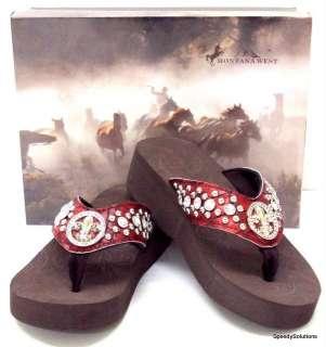 New Fleur De Lis Red Bling Western Rhinestone Flip Flop Sandals