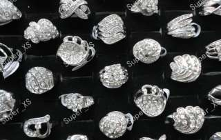 wholesale jewelry lots 10pcs multi Rhinestone silver Plated Rings free