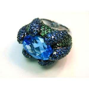 Blue Topaz Sapphire & Tsavorite Cocktail Ring Jewelry