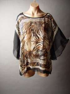 BLACK Sheer Chiffon Sophisticated Animal Scarf Print Top Shirt Blouse