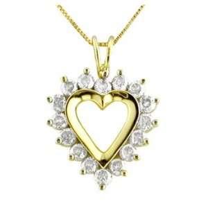 10K Yellow Gold Diamond Heart Pendant 1ct tw. 18 Chain Jewelry