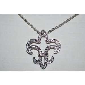 Tone Bling Bling Womens Necklace Large Hollow Fleur De Lis Jewelry