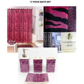 17 piece Bath Accessory Set Pink zebra print shower curtain Bathroom