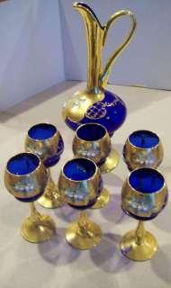 Italy Cobalt Blue Glass Set & Pitcher 24k Gold Enamel Perfect so