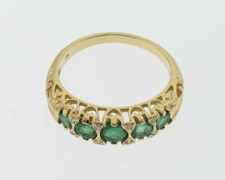 Estate Natural Emeralds Diamonds Solid 18k Yellow Gold Ring 750 Band