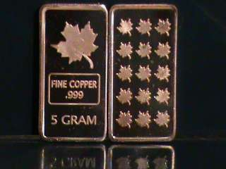 LOT X 10 5 GRAM COPPER BULLION MAPLE LEAF BAR .999 FINE
