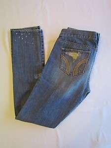 Hollister Womens Destroyed Jeans Denim Light Wash Size 7 Waist 28 NWT