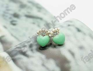 Fashion Dazzling Mixed Crystal Lovely Heart Pearl Earring
