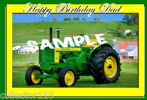Big Green John Deere Tractor 1/4 sheet Edible Cake Topper