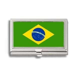 Brazil Brazilian Brasil Flag Business Card Holder Metal
