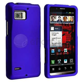 White+Red+Blue Rubber Hard Case+3x Privacy Film For Motorola Droid