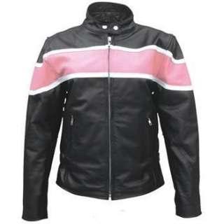 Ladies Black Leather Riding Jacket w White/Pink Stripe