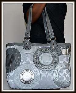NWT $398 COACH Pieced Signature Patchwork Leather Tote Silver Grey