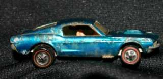 1968 Vintage Hot Wheel Redline Custom Mustang Open Hood Aqua Blue