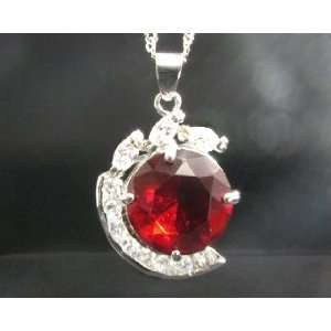 Necklace & Round Cut Red Ruby White Gold GP LOVE GIFT Pendant For Lady