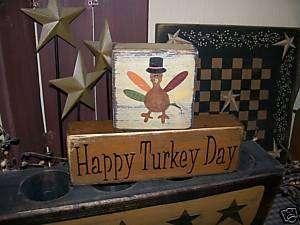 PRIMITIVE FALL HARVEST BLOCK SIGN~~HAPPY TURKEY DAY~~