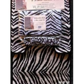 Complete Bath Accessory Set black zebra printed bathroom rugs shower