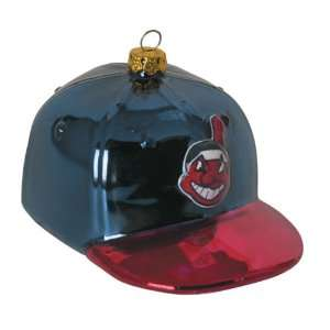 CLEVELAND INDIANS Logo Blown Glass Hand Painted Helmet