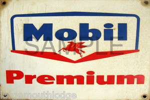 WEATHERED LAYOUT BUILDING SIGN DECAL MOBIL GAS PREMIUM