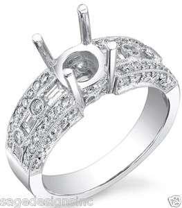 Baguette Antique Diamond Semi Mount Engagement Ring 18K White Gold