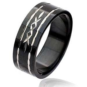 Black Plated Triple Cross Stainless Steel Ring 8MM   Size