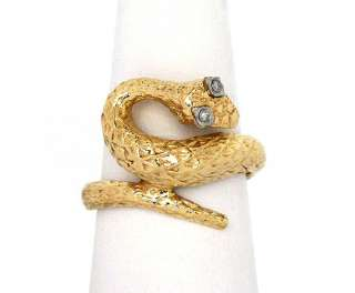 STUNNING 14K YELLOW GOLD & DIAMONDS ORNATE SNAKE RING