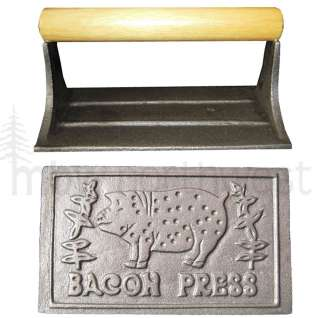 CAST IRON BACON GRILL PRESS w/ 2 FREE EGG RINGS  NEW