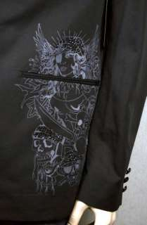 Ed Hardy Mens Pirate Skull Rhinestone Black Blazer New