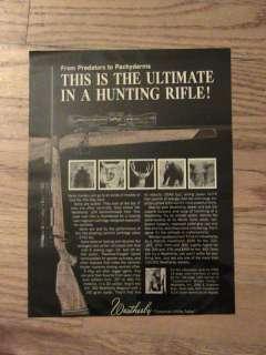 VINTAGE WEATHERBY GUN AD HUNTING ADVERTISEMENT ANIMALS