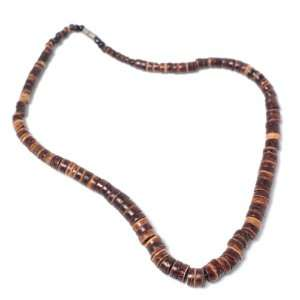 Graded brown wood bead tribal surf hippie necklace by
