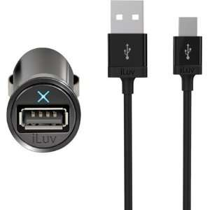 iLuv IAD225 Micro Size USB Car Adapter and micro USB Cable