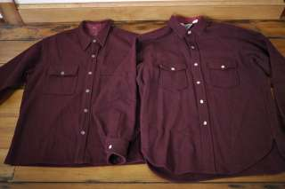 Vintage WOOLRICH Burgundy 100% WOOL Mens LONG SLEEVE Work SHIRTS USA L