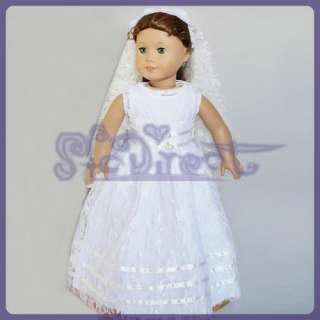 bridesmaid White Wedding Party Dress for American Girl
