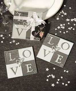144   Love Glass Coaster Wedding Favors