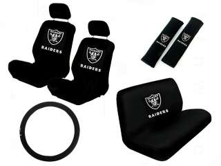 11 PC NFL CAR SEAT COVER SET OAKLAND RAIDERS
