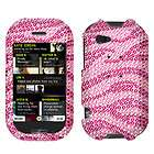 Wireless Sharp Kin Two Zebra Hot Pink Crystal Bling Stone Cover Case
