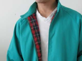 FAB IZOD LACOSTE MANS GREEN COTTON RED PLAID LINED HARRINGTON JACKET