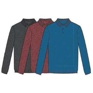 Greg Norman Heathered Long Sleeve Polo Golf Sweater